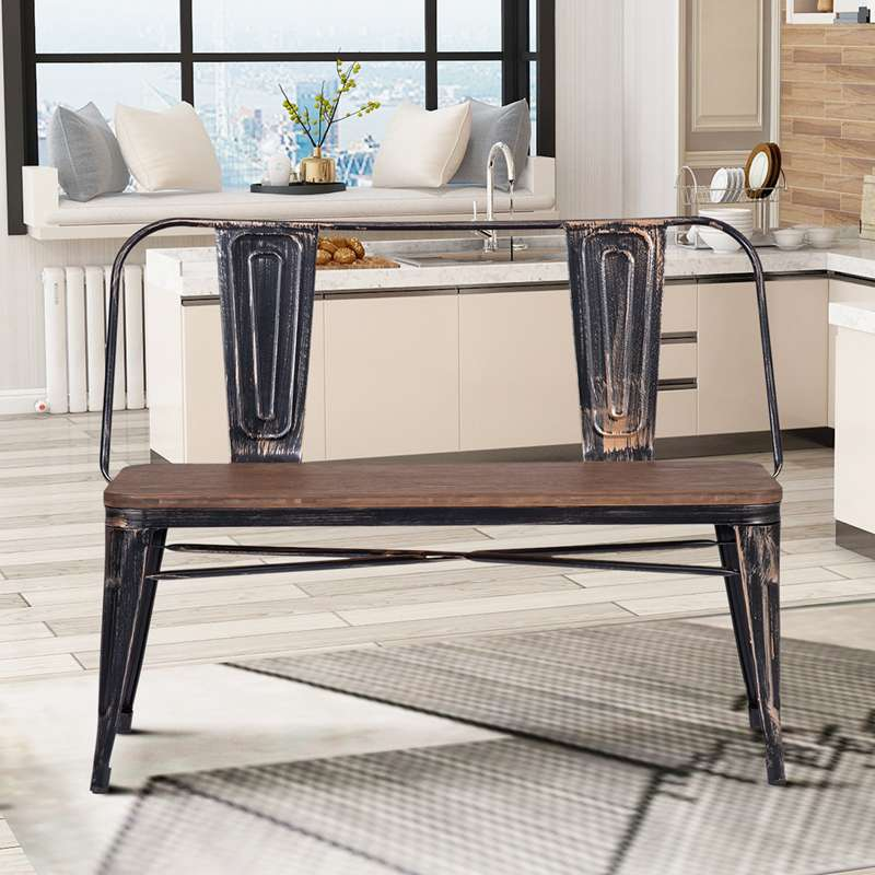 Industrial Dining Bench with Back Kitchen Bench Seating Chairs