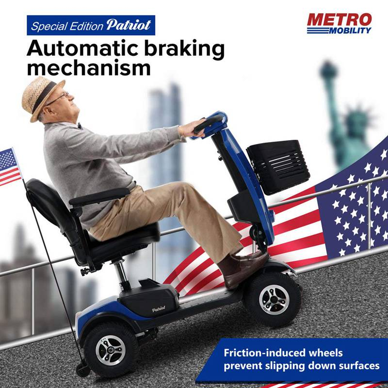 Metro Mobility USA Patriot Compact Travel Electric Mobility Scooter for Adults-Blue, Max Range 16 Miles