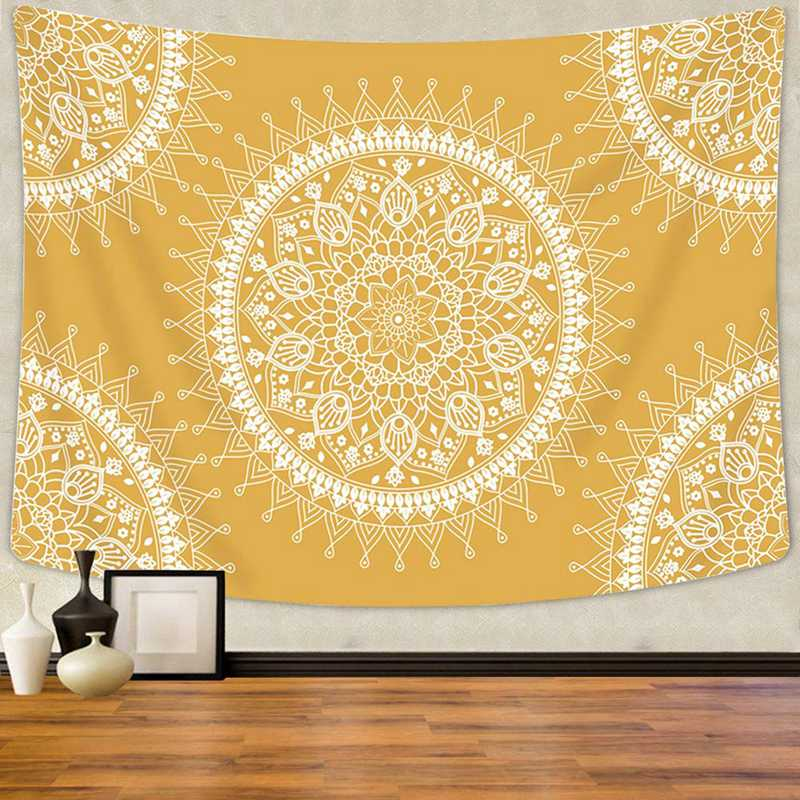 Mandala Tapestry Bohemian Hippie Wall Hanging Room Aesthetic Tapestry Warm Orange Beach Blanket