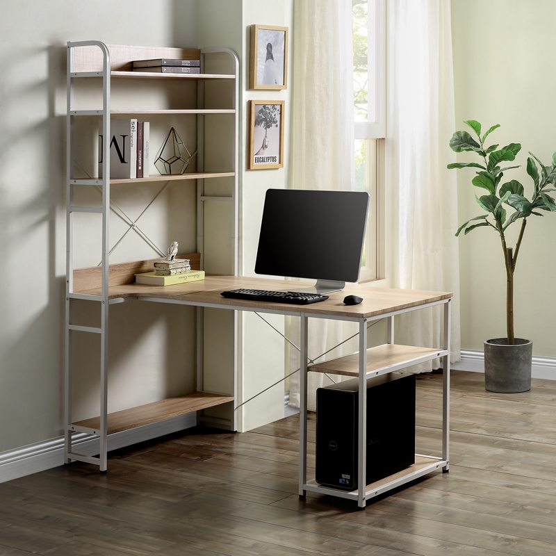 Oak L-shaped Computer Desk with 5 Tier Open Bookshelf  Home Office Storage Table