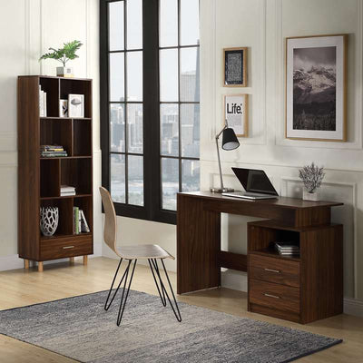 Home Office Computer Desk Wooden Laptop Writing Table with 2 Drawers