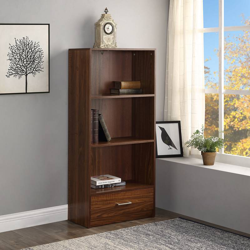 Wood Standard Bookcase with 3 Shelf and 1 Drawer Storage Cabinet