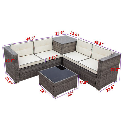 4 Piece Outdoor Sectional Sofa Set Patio Furniture Garden Loveseat Couch With 2 Table