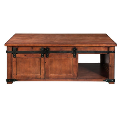 Farmhouse Rectangle Coffee Table with Storage Industrial Chest Coffee Table