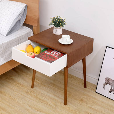 Side End Table Nightstand Bedside Cabinet with 1 White Drawer