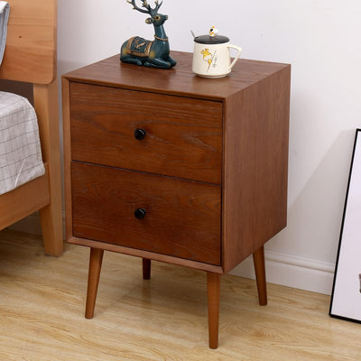 Mid Century Brown Nightstand Side Table with 2 Drawers Bedroom