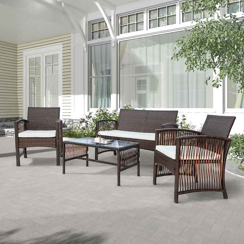 4 Piece Wicker Patio Set Outdoor Sofa Small Dining Couch Furniture Glass Table