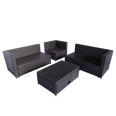 4 Piece Outdoor Sectional Sofa Set Patio Wicker Furniture Garden Seating Couch