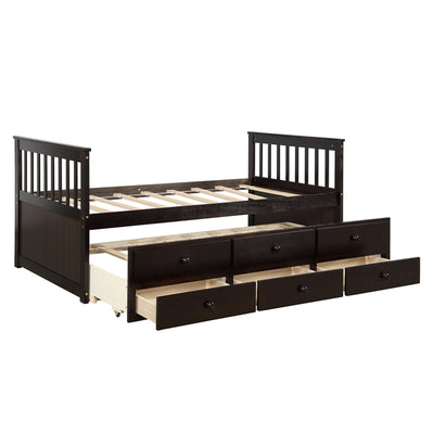 Wooden Bed Twin Daybed with Trundle Bed and 3 Storage Drawers Captain Bed for Kids