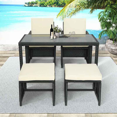 5Pcs Rattan Sofa Set Outdoor Patio Furniture Glass Table Ottoman Stools