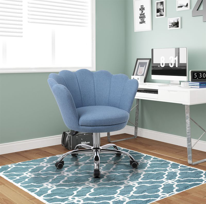 Modern Blue Linen Fabric Swivel Shell Chair Computer Gaming Desk Chair