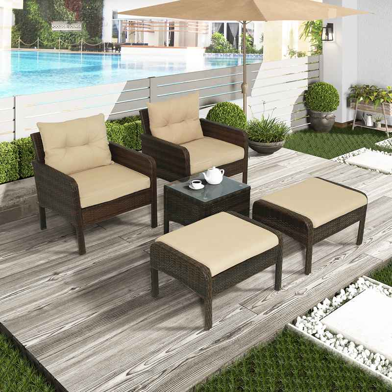 5 Piece Wicker Sofa Set Rattan Patio Lounger Outdoor Glass Table