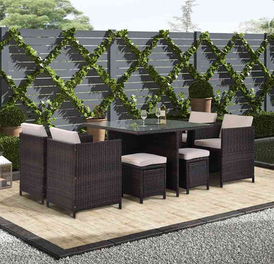 9 Piece Outdoor Patio Dining Sets Wicker Table and Chairs Rattan Furniture