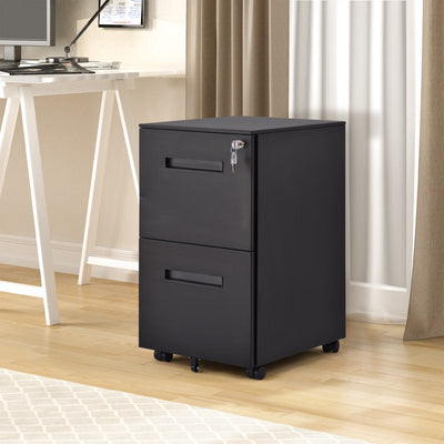 Office File Cabinet Storage with 2 Drawers Wheels Lock