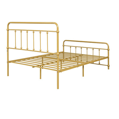 Golden Metal Platform Bed with Headboard Footboard Iron Bed Frame for Bedroom Full Size
