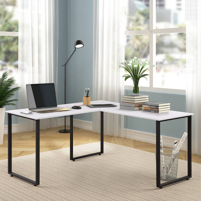 L Shaped Home Office Corner Desk Computer PC Laptop Table Workstation