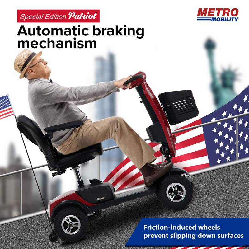 Metro Mobility USA Patriot Compact Travel Electric Mobility Scooter for Adults-Red, Max Range 16 Miles