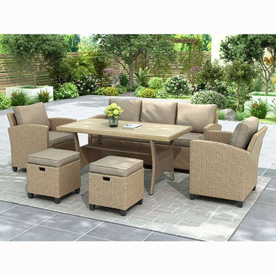 6 Pcs Outdoor Rattan Wicker Set Patio Garden Backyard Sofa Chair Stools and Table