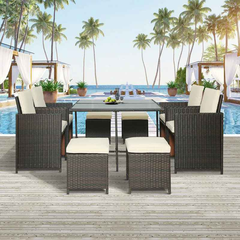 9Pcs Outdoor Rattan Furniture Set Wicker Patio Table Garden Sofa