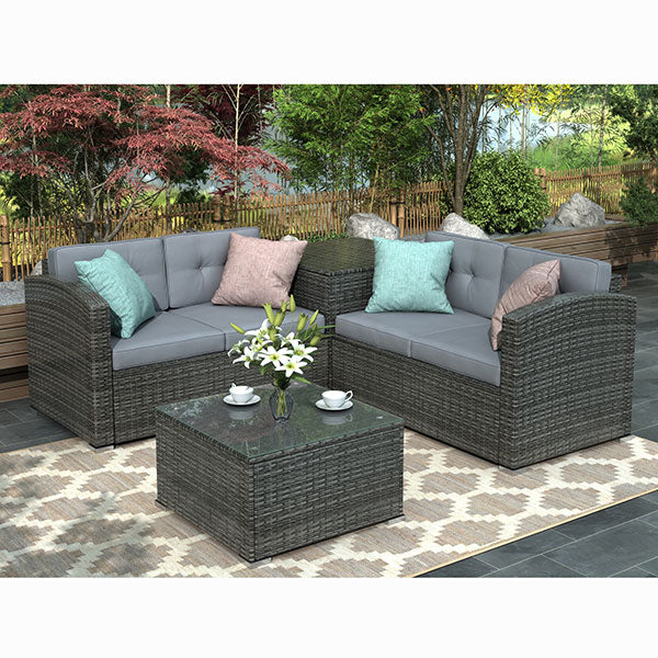 4 Pcs Outdoor Patio Furniture Set Rattan Wicker Sectional Sofa Loveseat with Coffee Table & Storage Ottoman