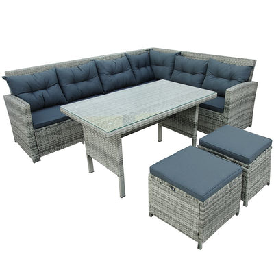 6 Piece Outdoor Sectional Sofa Set Patio Wicker Garden Seating Couch with Dining Table Ottomans