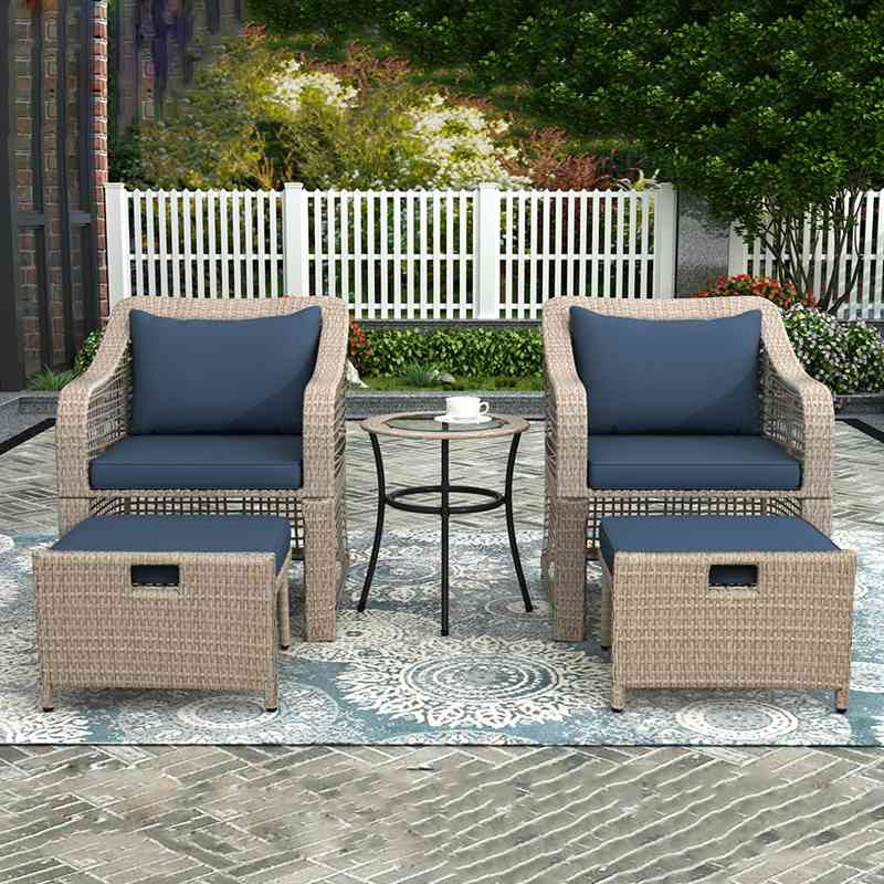 5 Piece Patio Wicker Bistro Set Outdoor Furniture Armchair Side Table Footstool