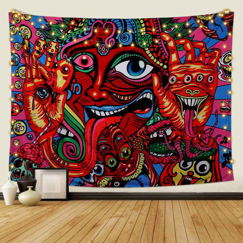 Psychedelic Arabesque Tapestry Wall Hanging Hippie Wall Tapestry Abstract Retro Pattern Tapestries Magical Fractal Tapestry for Bedroom Living Room