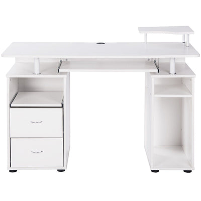 Home Office Computer Desk with Keyboard Tray and 2 Drawers PC Laptop Table