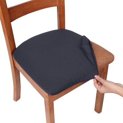 Dark Grey Upholstered Stretch Dining Chair Seat Cushion Covers Jacquard Chair Seat Cushion Protectors Chair Slipcovers