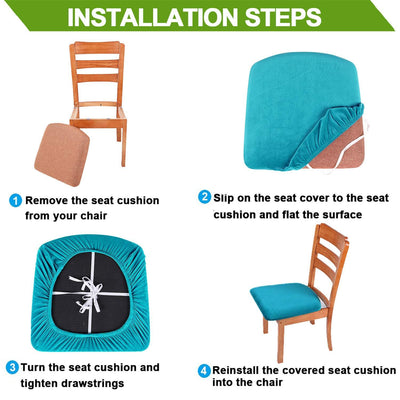 Black Upholstered Stretch Dining Chair Seat Cushion Covers Seat Cushion Protectors Removable Washable Chair Slipcovers