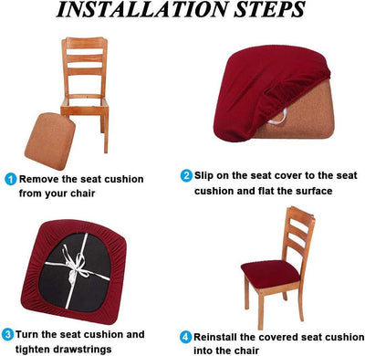 Beige Upholstered Stretch Dining Chair Seat Cushion Covers Jacquard Chair Seat Cushion Protectors Chair Slipcovers