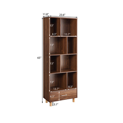 Wood Standard Bookcase with 8 Open storage compartments and 1 Drawer Modern Home Office