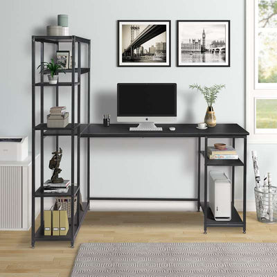 Modern Black Office Computer Desk with Multiple Bookshelves