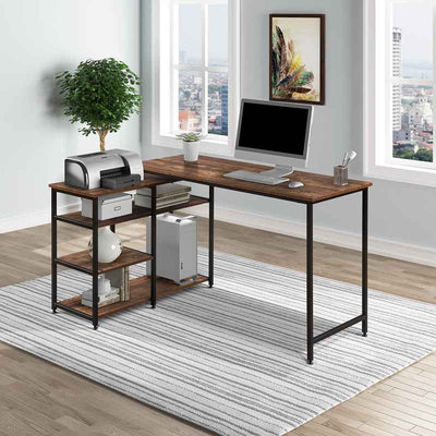 L-Shaped Computer desk Home Office Corner Desk with Open Shelves