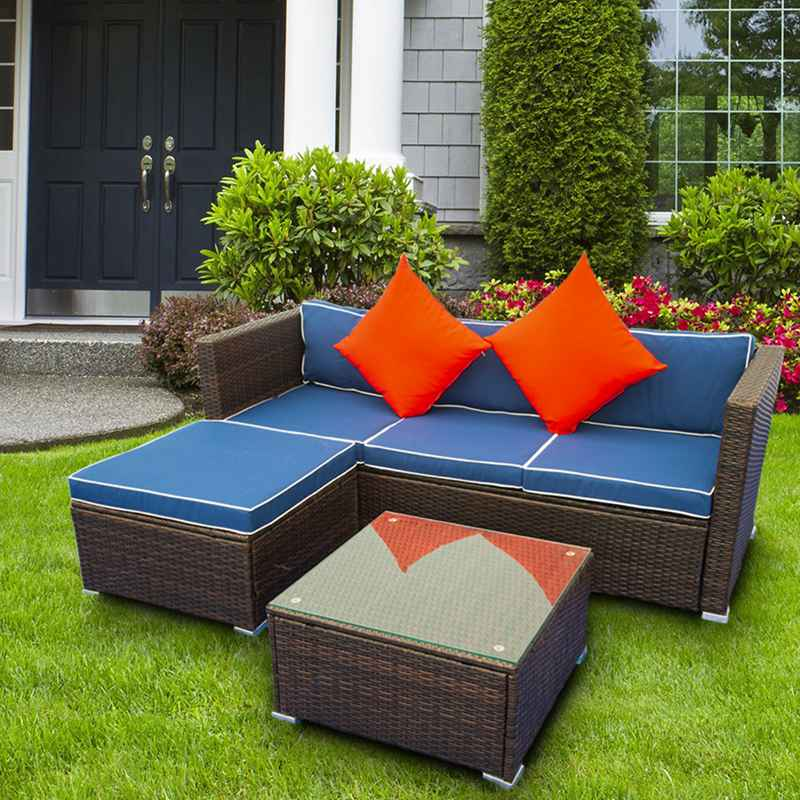 3 Piece Outdoor Sectional Sofa Set Patio Wicker Furniture Garden Seating Couch