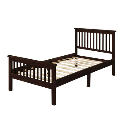 Wood Platform Bed Frame with Headboard and Footboard Wood Slat Support