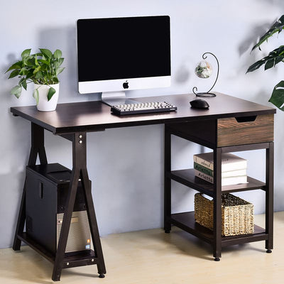 Home Office Computer Desk with Drawer and Shelves PC Laptop Study Gaming Table