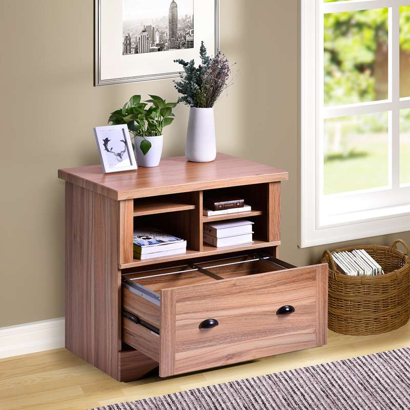 Wood File Cabinet Nightstand with Lock 2 and Adjustable Shelves