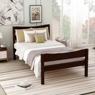 Wood Platform Bed Frame with Headboard and Wooden Slat Support Twin Size
