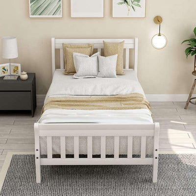 Wood Platform Twin Size Bed Frame with Headboard Footboard Wood Slat Support