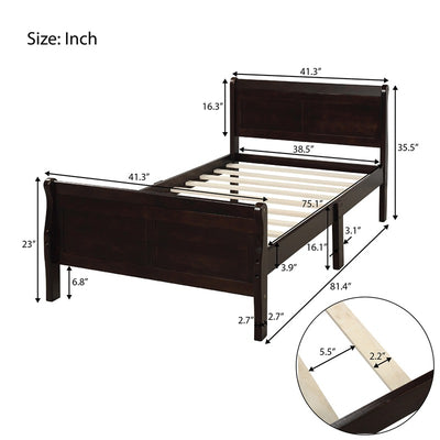 Wood Platform Bed Frame Twin Size with Headboard and Footboard
