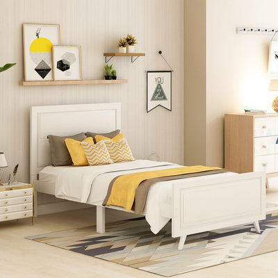 Wood Platform Twin Size Bed Frame with Headboard and Wood Slat Support