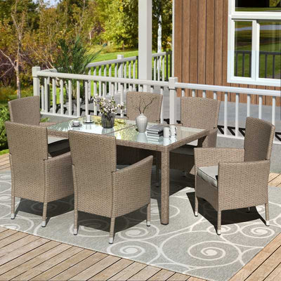 7 Pcs Outdoor Wicker Dining Sets Patio Brown Wicker Dinning Table Garden Furniture Seating with Beige Cushions