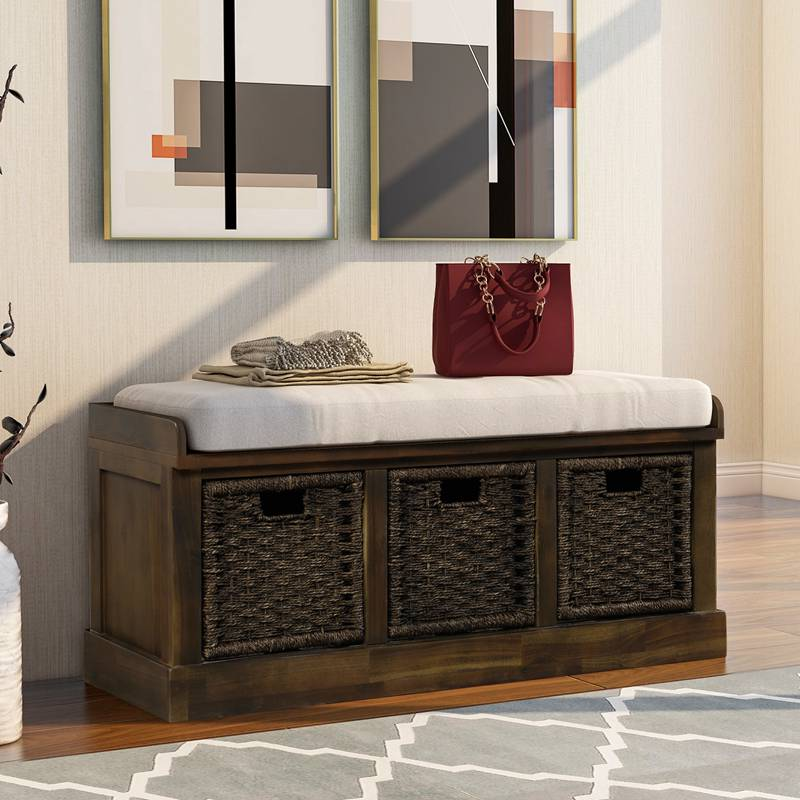 Rustic Storage Bench with 3 Basket Drawers and Cushioned Seat for Entryway Hallway