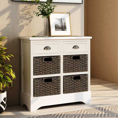 Retro Storage Cabinet with Two Drawers and Four Basket