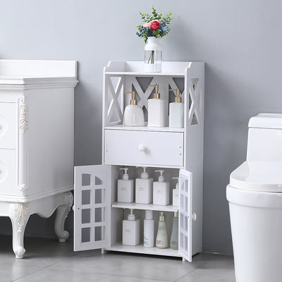 Double Door Compartment with Drawer Shelf PVC Small Bathroom Storage Corner Floor Cabinet, Thin Toilet Vanity Cabinet for Paper Holder