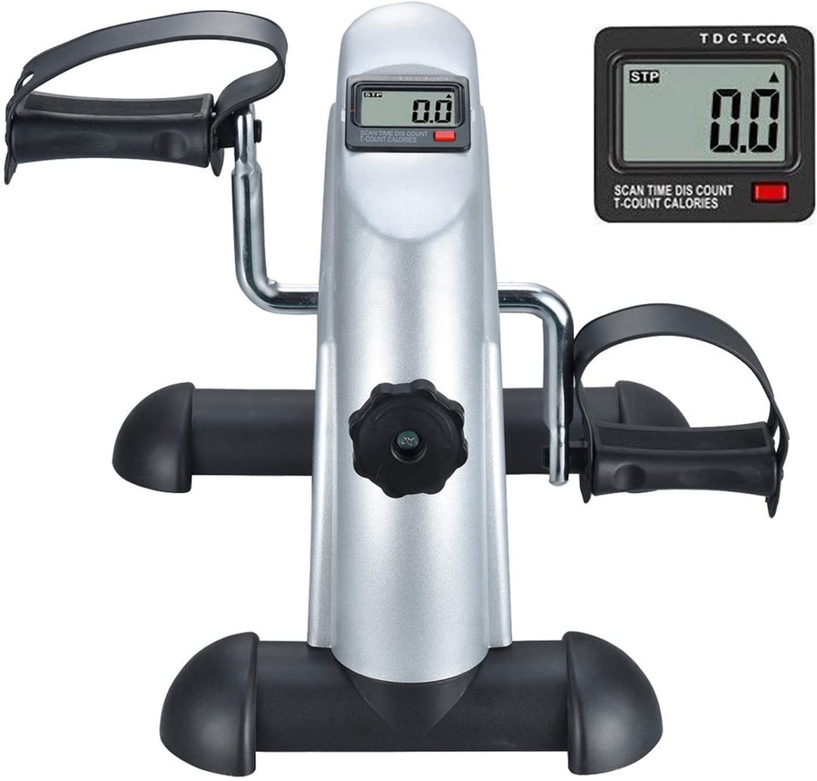 Under Desk Bike Pedal Exerciser for Leg/Arm, LCD Screen Display, Portable Mini Cycle Therapy Bike
