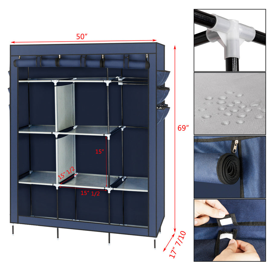 Wardrobe Portable Closet Storage Organizer Clothes Non-woven Fabric Wardrobe