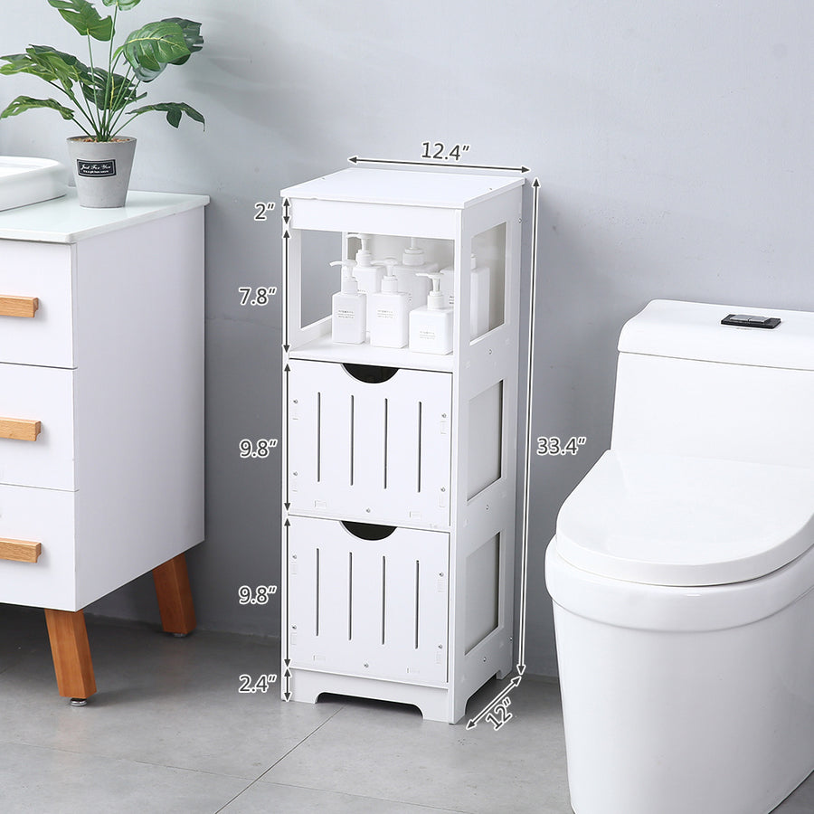 Wooden Bathroom Floor Side Cabinet Multifunctional Storage, 2 Adjustable Drawers, Sturdy Cabinet for Home Office Living Room