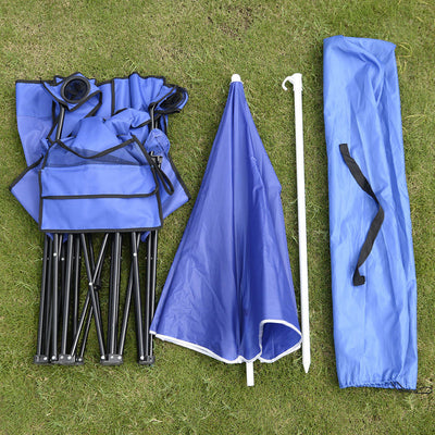 Camping Portable Outdoor 2-Seat Folding Chair with Removable Sun Umbrella Blue